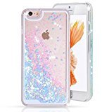 Urberry Iphone 6s/6 Case,Running Glitter Cover, Sparkle Love Heart, Creative Design Flowing Liquid Floating Luxury Bling Glitter Sparkle Hard Case for iPhone 6s/6 4.7 inch with a Screen Protector