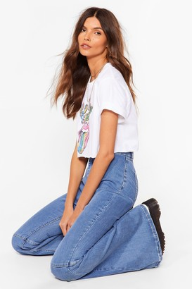 Nasty Gal Womens Super Trouper High-Waisted Flare Jeans - Blue - 6