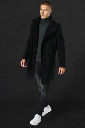 boohoo Mens Black Funnel Neck Wool Look Overcoat, Black