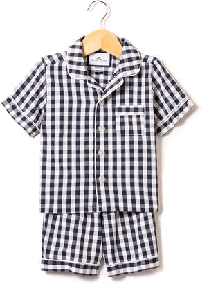 Petite Plume Gingham Twill Pajama Set w/ Contrast Piping, Size 6M-14