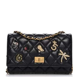 Chanel Reissue Wallet On Chain Lucky Charms Quilted Black