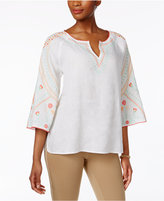 Charter Club Linen Embroidered Bell-Sleeve Tunic, Created for Macy's