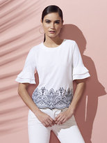 New York & Co. 7th Avenue Design Studio - Embroidered Ruffle-Sleeve Top