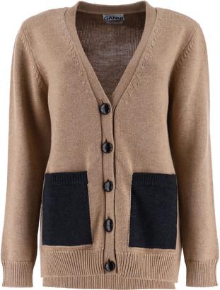 Ganni BUTTONED CARDIGAN S Beige Wool
