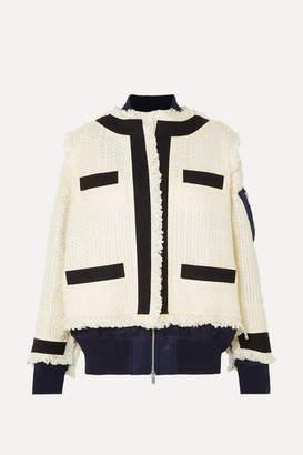 Sacai Paneled Fringed Canvas-trimmed Tweed And Shell Jacket - White