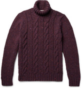 Etro Cable-knit Mélange Wool And Cashmere-blend Rollneck Sweater - Plum