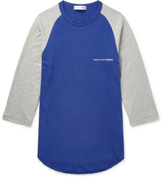 Comme des Garcons Logo-Print Colour-Block Logo-Print Cotton-Jersey T-Shirt