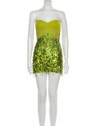 Jenny Packham Silk Mini Dress Green