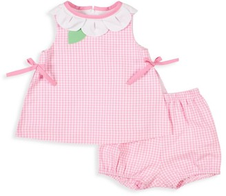 Florence Eiseman Baby Girl's 2-Piece Checkered Pleated Neck Top & Bloomers Set