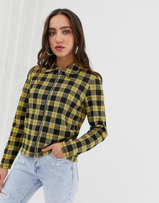 Pieces tartan zip through lightweight jacket-Yellow