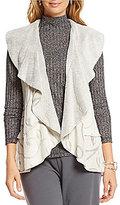 Multiples Paisley Line Print Faux-Fur Flounce Vest