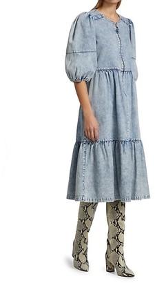 Sea Dax Acid Wash Denim Puff-Sleeve Midi Dress