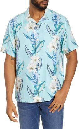 Tommy Bahama Hummingbird Blue Classic Fit Short Sleeve Silk Blend Button-Up Camp Shirt