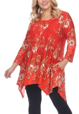 White Mark Women's Plus Size Floral Printed Tunic Top