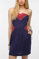 Urban Outfitters Ecote Embroidered Inset Strapless Dress