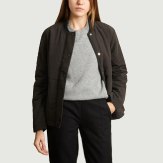 Folk Black Plain Padded Bomber Jacket - 2
