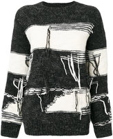 Sjyp stripe distressed sweater