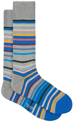 Paul Smith Orwell Mercerized Stripe Sock (Grey) Men's Crew Cut Socks Shoes