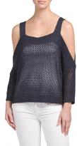 Juniors Cold Shoulder Open Crop Sweater