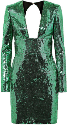Dundas Open-back Sequined Chiffon Mini Dress