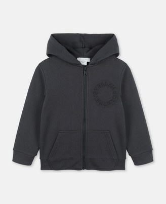 Stella Mccartney Kids Stella McCartney logo embossed cot/poly zip-up hoodie
