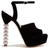Sophia Webster Natalia crystal-heel velvet platform sandals