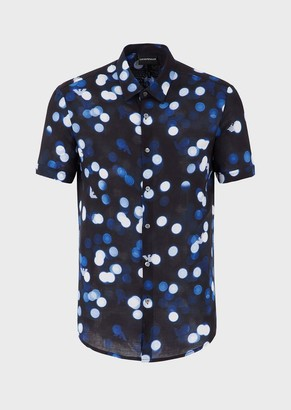 Emporio Armani Viscose Shirt With All-Over Op-Art Print