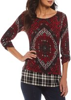 Multiples Roll-Tab Sleeve Back Placement Print Top