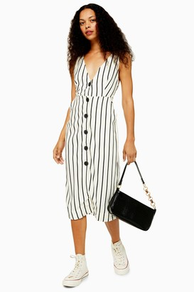 Topshop Womens Petite Ivory Stripe Pinafore Midi Dress - Ivory