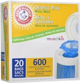 Munchkin Arm & Hammer Diaper Pail Snap, Seal and Toss Refill Bags - 20 ct - Lavender Scent