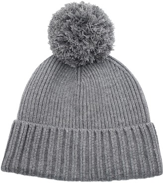 Decentron Teen Girls Womens Rib Knit Beanie Hat with Pom Thick Warm Winter Hats Cuff Skull Cap Grey