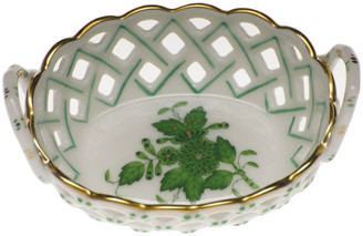 Herend Chinese Bouquet Green Small Openwork Basket with Handles
