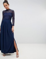 Club L London High Neck Crochet Lace Maxi Dress With Long Sleeves