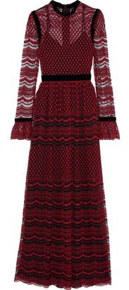 Philosophy di Lorenzo Serafini Velvet-trimmed Embroidered Tulle Gown
