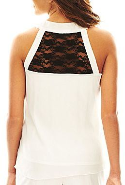 JCPenney by&by Sleeveless Cascading Ruffle Blouse
