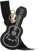 Miu Miu Velvet-trimmed Embellished Suede Keychain - Black