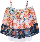 Girls 7-16 IZ Amy Byer Off Shoulder Printed Top with Necklace