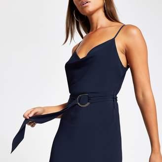 River Island Womens Navy cowl neck belted slip dress