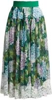 Dolce & Gabbana Hydrangea-print lace-trimmed silk-blend skirt