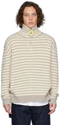 J.W.Anderson Grey and Off-White Striped Neckband Sweater