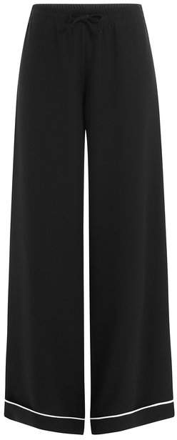 Valentino Silk Wide Leg Pants with Contrast Piping