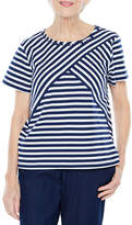 Alfred Dunner Out And About Short Sleeve Crew Neck Stripe T-Shirt-Womens Petites