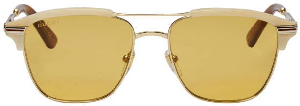 Gucci Gold Retro Cruise Sunglasses