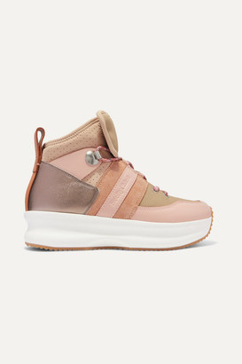 See by Chloe Nicole Canvas, Leather And Suede High-top Sneakers - Blush