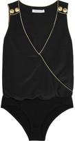 Pierre Balmain Wrap-effect Washed-silk Bodysuit - Black
