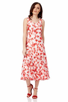 Roman Originals Women Poppy Print Bias Cut Dress - Ladies Summer Wedding Guest Special Occasion Party Formal Holiday Summer Evening Fit & Flare Sleeveless Dress - Red - Size 12