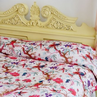 Powell-Craft Powell Craft - Cream Birds Of Paradise Cotton Indian Bed Quilt - Natural/Pink/Purple