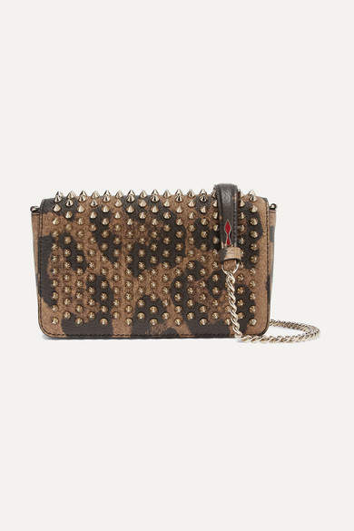 8078378d6fc Zoompouch Spiked Leopard-print Leather Shoulder Bag - Brown