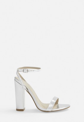 Missguided Silver Block Heel Sandals