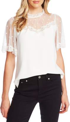 CeCe Mixed Media Flocked Dot & Lace Blouse